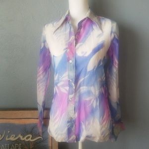 Vintage sheer blouse 70s style blue lilac